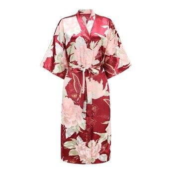 Sexy Gray Lady Summer Causal Robe Long Bathrobe Gown Women's Satin Nightgown Lingerie Print Flower Kimono Sleepwear One Size slit side flower print kimono