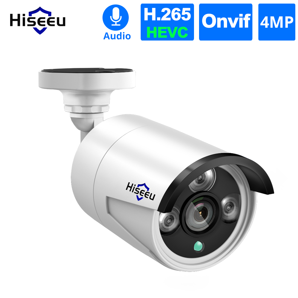 Hiseeu 4 stks / partij 4MP POE IP Camera Audio H.265 Beveiliging Outdoor Waterdichte Camera CCTV Video Surveillance P2P ONVIF