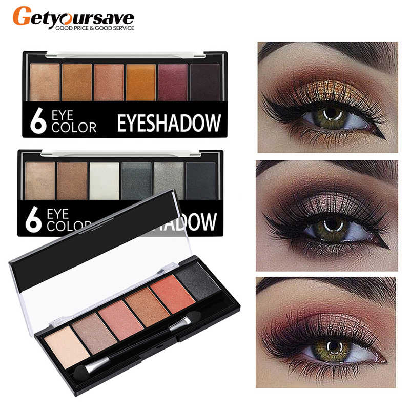 6 Warna Eyeshadow Palet Glamor Tahan Air Tidak Mekar Eye Shadow Shimmer Glitter Makeup Eye Shadow