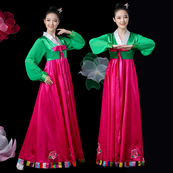 Korean Clothing Traditional Palace Female Full Sleeve Hanbok Dress Minority Dance Performance Dress Women Stage Outfits SL1576