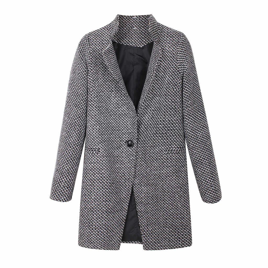 2019 春の秋の女性のウールのチェック柄コート新ファッションロングウールコートスリムタイプ女性の冬のウールジャケット女性 abrigos # J30