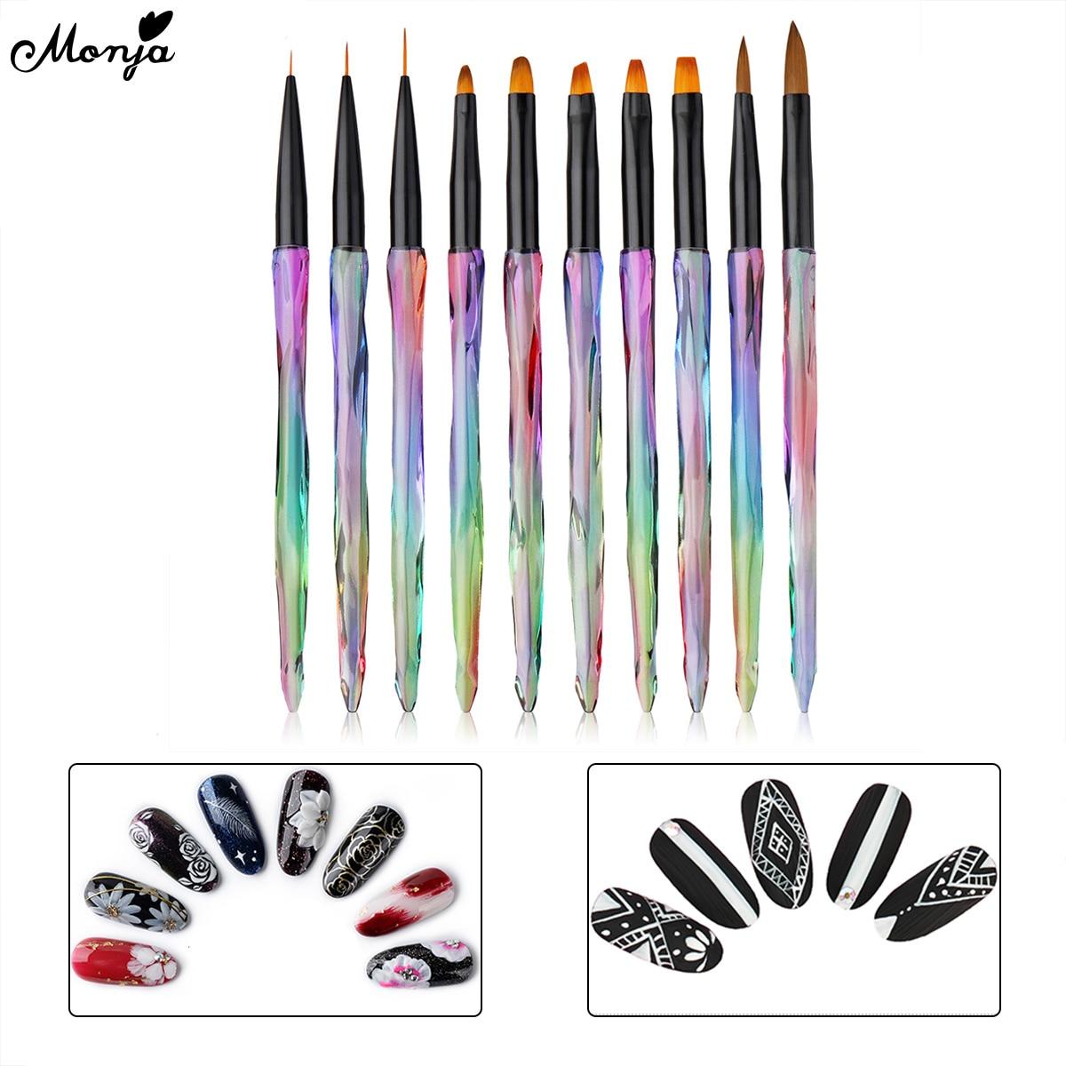 Monja 10Pcs Colorful Handle Nail Art Stripe Lines Painting Brush UV GEL Extension Builder Acrylic Liquid Powder Carving Pen