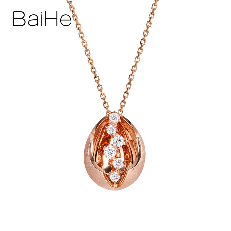BAIHE Solid 14K Rose Gold Total 0.20ct H/SI Natural Diamonds Trendy Wedding Fine Jewelry beautiful Water droplets Gift Pendant