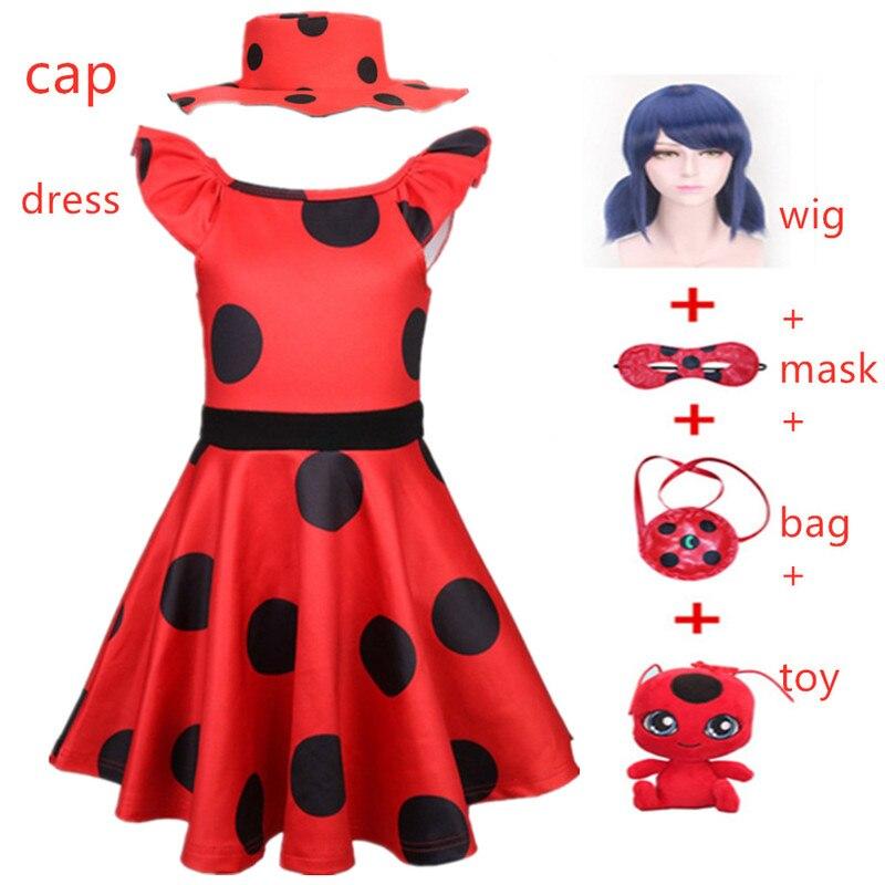 Carnival Red Bug Halloween Cosplay Costume Princess Flower Girl Dress Summer Tutu Wedding Birthday Party Red Dot Kids Dresses