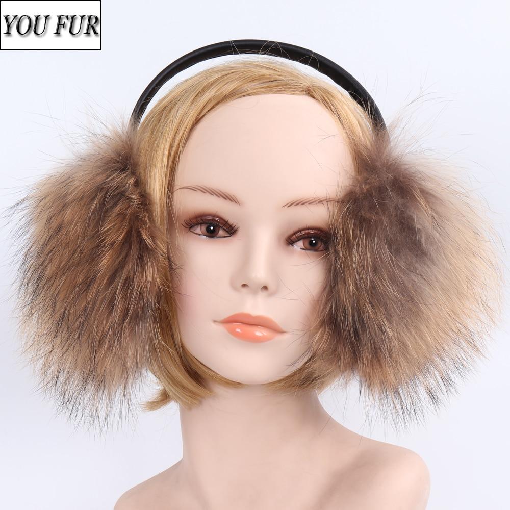 New Style Winter Women Warm Soft Real Fox Fur Earmuffs Girl Big Fox Fur Plush Ear Muff Lady 100% Real Natural Fox Fur Earmuffs