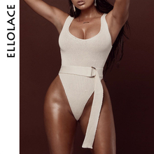 Ellolace Sexy Knitted Women Bodysuit Backless Lace Up Elegant Rompers with Belt Bodycon Slim Overalls Autumn Stretchy Bodysuits