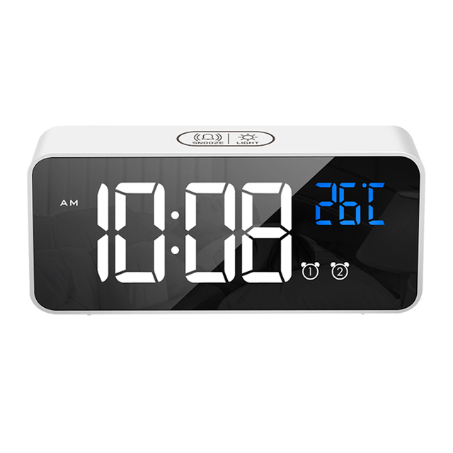 Bedside Wake Up Digital Mirror Led Music Alarm Clock with Snooze Temperature Thermometer Acoustic Voice Control Backlight