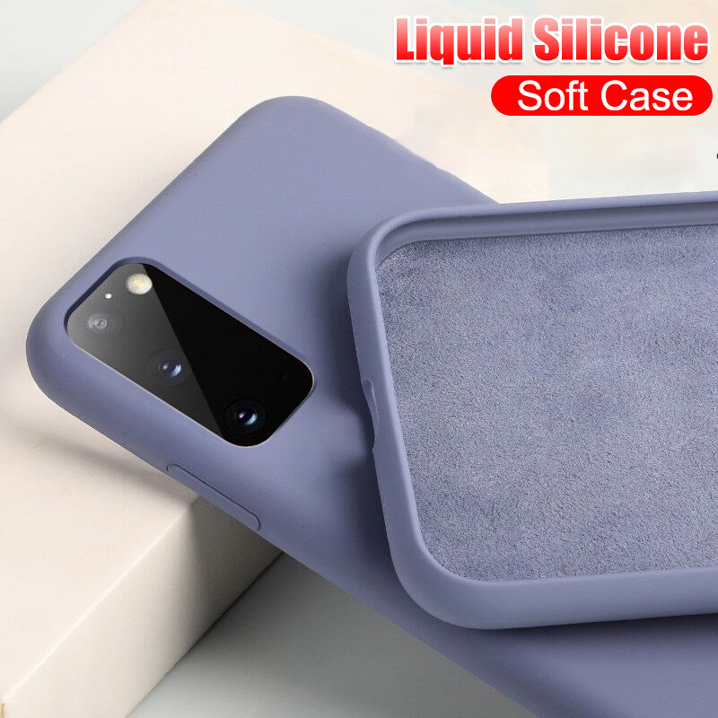 Liquid Silicone Soft Case For Samsung Galaxy S20 Ultra Note 10 Plus 9 8 S10 S10E S9 S8 Full Shockproof Cover Protective Cases