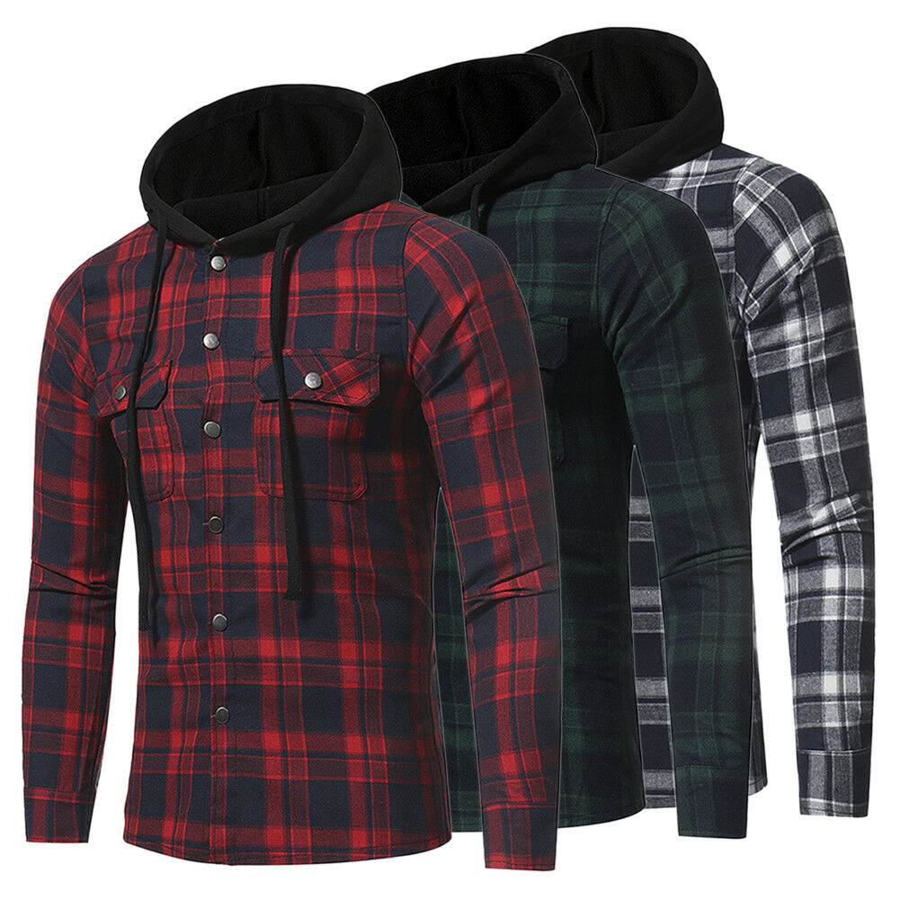 Fashion Streetwear Men's Casual Check Long Sleeve Hooded Button Up Flannel Shirt New