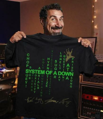 System Of A Down T Shirt Black Cotton Men S-6XL Made In USA Design Tops Top Tee