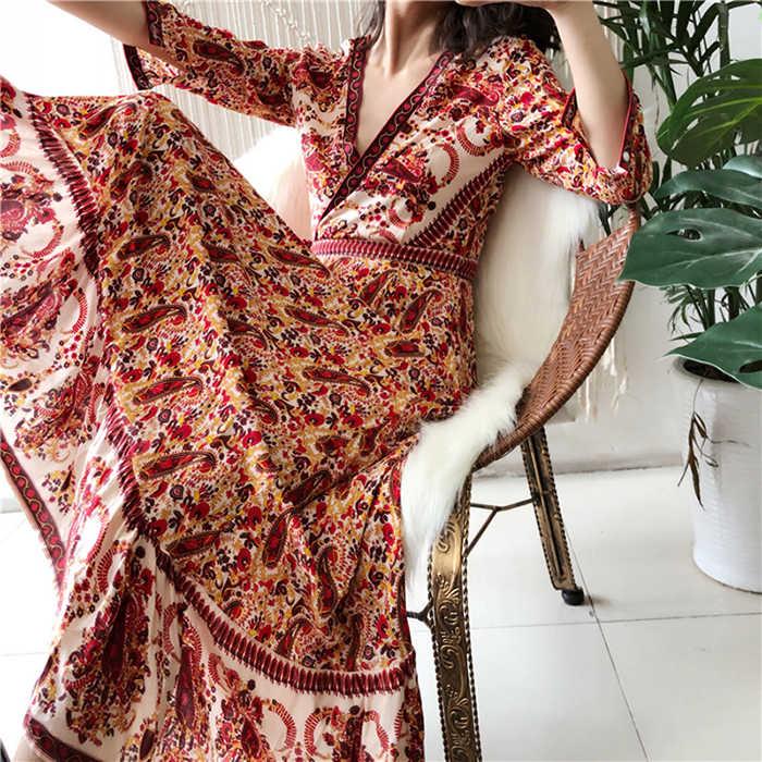 Teelynn longo boho vestido rayon 2019 floral impressão sexy com decote em v hippie vestidos de verão chique praia vestido feminino bohemia wrap vestidos