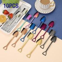 10PCS Set Cute Dessert Spoons Mini Coffee Spoon Shovel Shape Retro Square Head Small Ice Cream Spoon Fork  Metal Stainless Steel