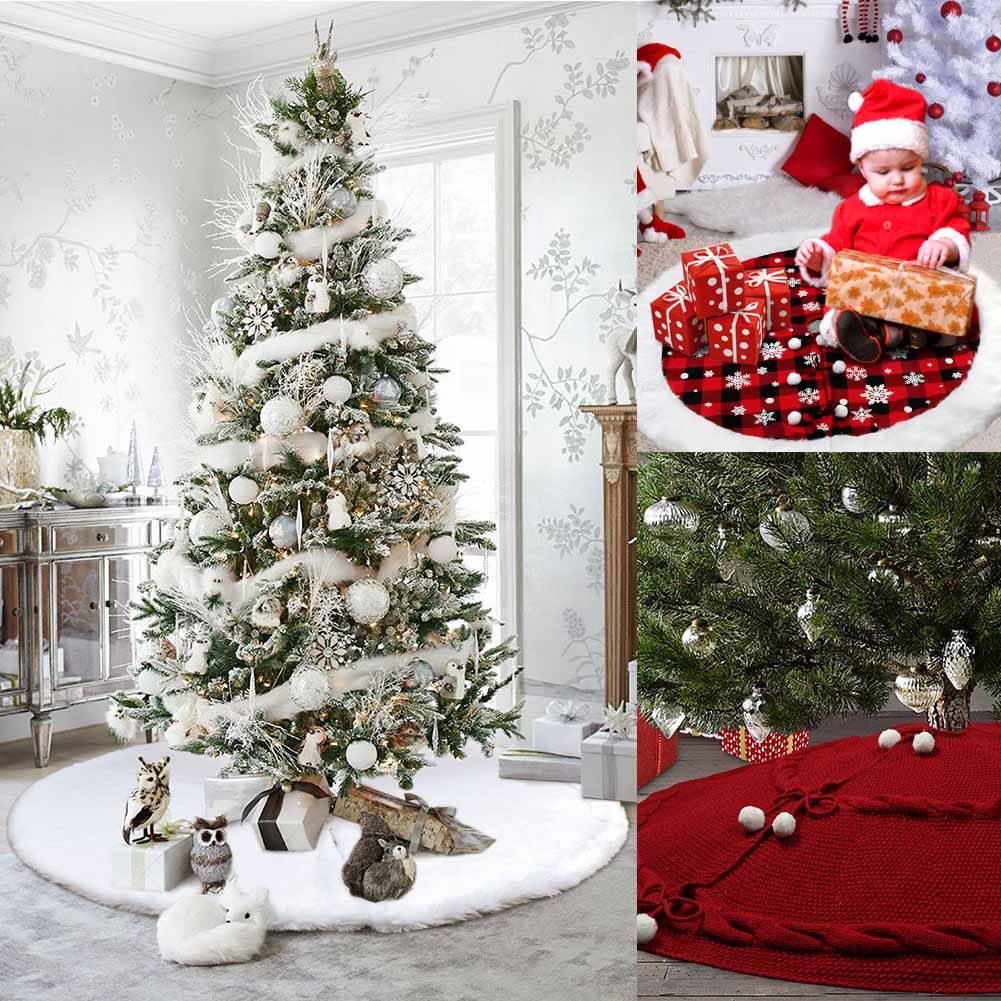 122cm White Christmas Tree Skirt Plush Rug Mat Aprons Fur Decorations For Home Natal Tree Skirts New Year Decoration New Year