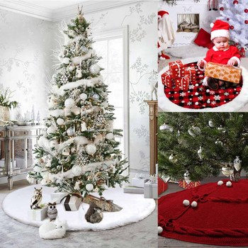 122cm White Christmas Tree Skirt Plush Rug Mat Aprons Fur Decorations For Home Natal Skirts New Year Decoration