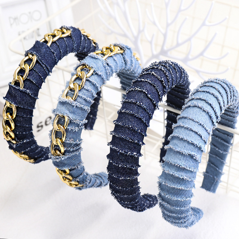 Women Denim Chain Headbands for Girls Thickened Winding Sponge Hairband Bezel Europe Female Hair Hoop Fashion Hair Accessories