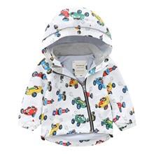 Jackets Windbreaker Baby-Boys-Girls Children Waterproof Autumn Winter Hooded Cartoon