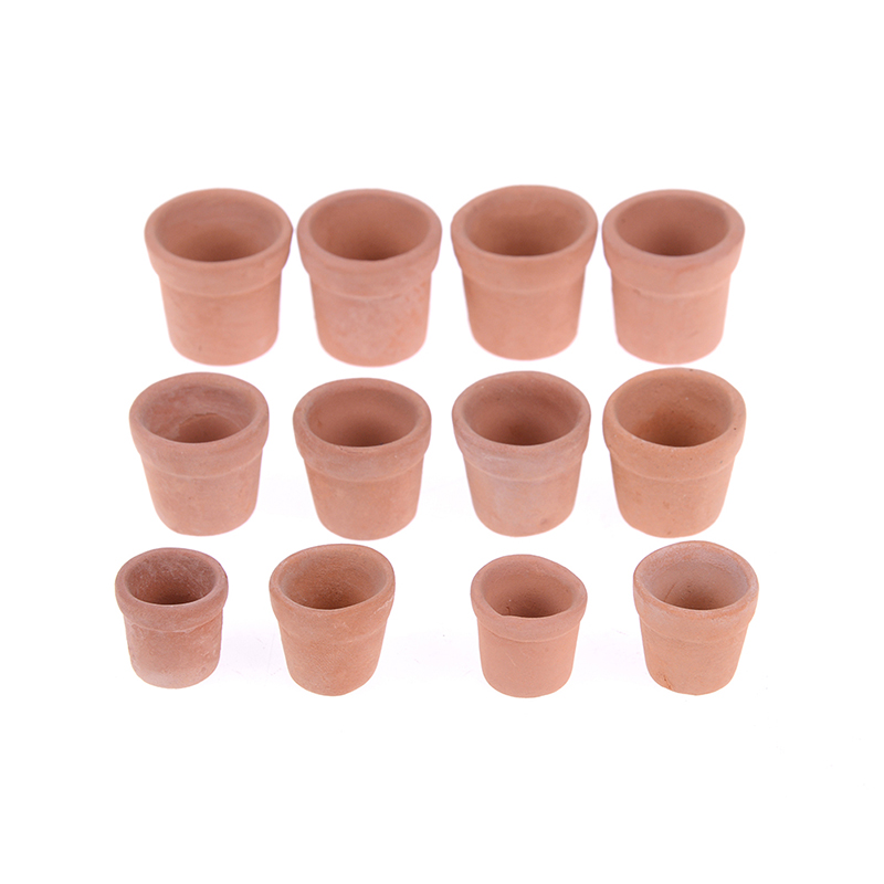 12pcs 1/12 Miniature Accessories Mini Red Clay Flowerpot Simulation Garden Flower Pot Model Toy For Dollhouse