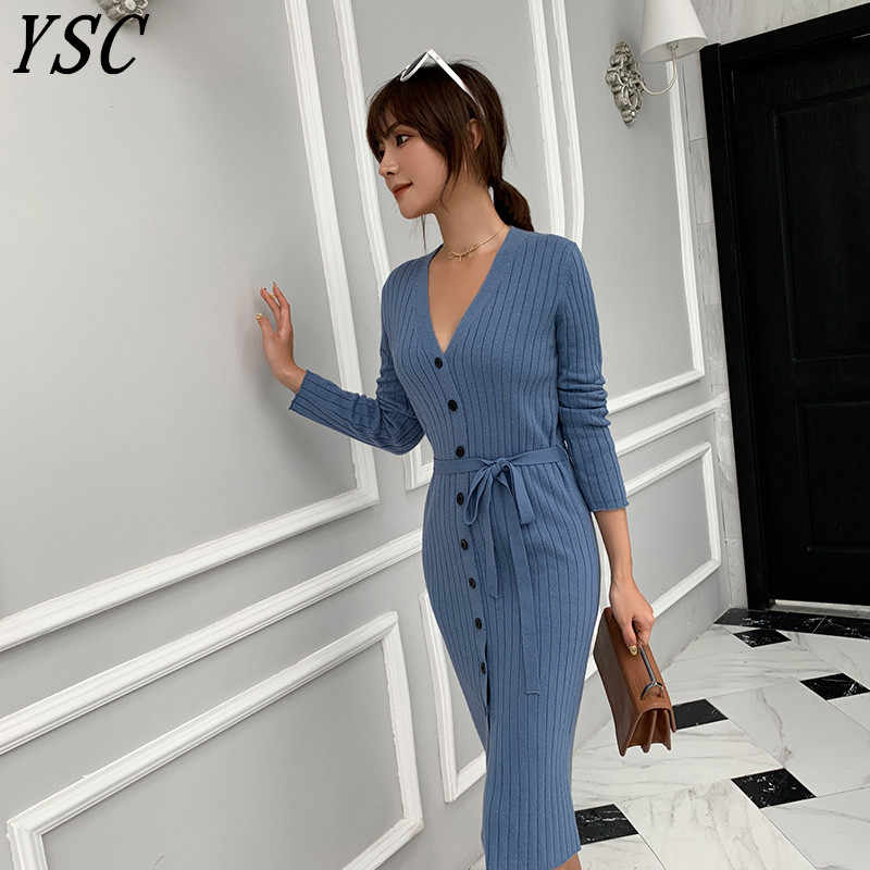 YSC 2019 winter sale fashion high quality cashmere long cardigan women V-Collar new design Solid color Belt decoration