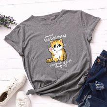 Camiseta de algodón para mujer, ropa informal holgada de talla grande 5XL, de manga corta, con estampado de gato