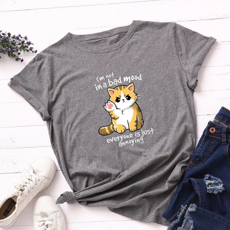 Verão moda feminina camiseta de algodão 5xl plus size casual solto manga curta senhoras camiseta topos bonito gato impressão t camisas