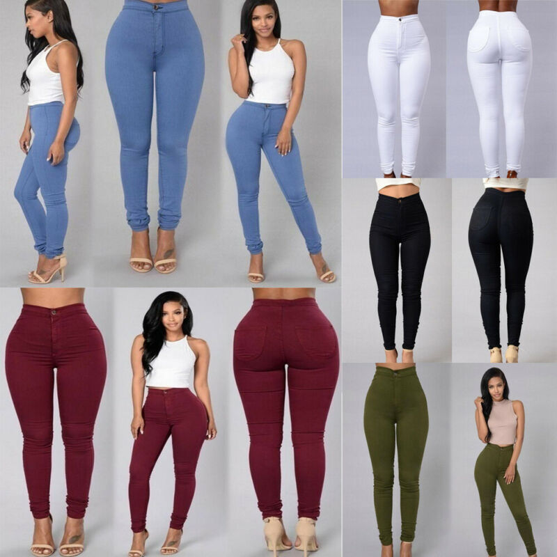 Hirigin 5 Colors Style Women Denim Skinny Leggings Pants High Waist Stretch Jeans Pencil Trousers Plus Size S-3XL