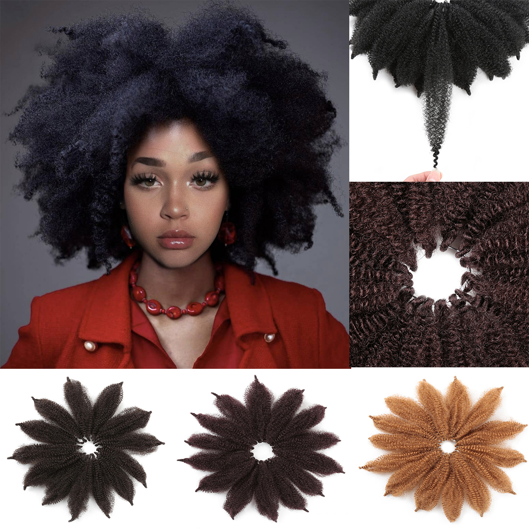 For Woman 8'' Crochet Marley Braids Black Hair Soft Afro Twist Synthetic Braiding Hair Extensions High Temperature Fiber