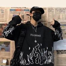 Rua feminina flame print pulôver oversized harajuku hoodie plus size inverno moletom feminino coreano streetwear topo