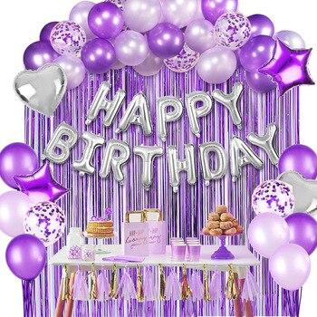 Amawill 12 дюймов фиолетовые воздушные шары для дня рождения конфетти украшения детский душ Русалка для взрослых детей Металлический воздушный шар набор Поставки