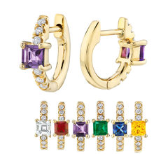 Kikichicc 925 Sterling Silver Small Huggies 8mm Purple Zircon Mini Hoops Earrings Cluster CZ Multi Circles Jewelry For Women(China)