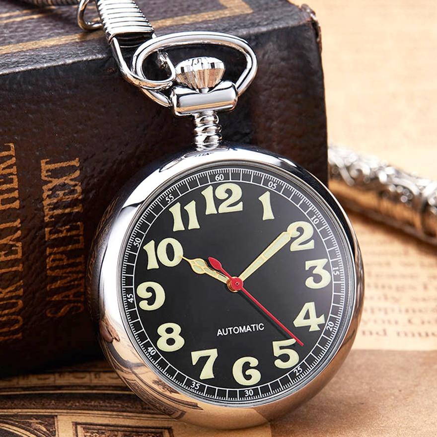 Luxury Sliver Mechanical Pocket Watch Luminous Hands Men Women Golden Color Roman Numerals Fob Chain Russia Automatic Good Clock
