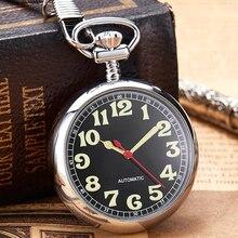 Reloj de bolsillo mecánico luminoso de plata de lujo para hombre y mujer, cadena con números romanos de Color dorado, automático, Ruso