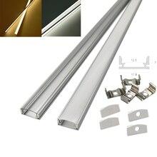 HAMRVL lot de bandes led en aluminium, 2 à 30 ensembles, 0.5m, 12mm, pour barre lumineuse, canal plat, boîtier plat, couvercle laiteux, clips avec embouts transparents