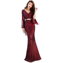 Evening Dress Long Sleeve Robe De Soiree Fashion Sequin Women Party Dresses 2019 Sexy Double V-neck Zipper Gowns F073