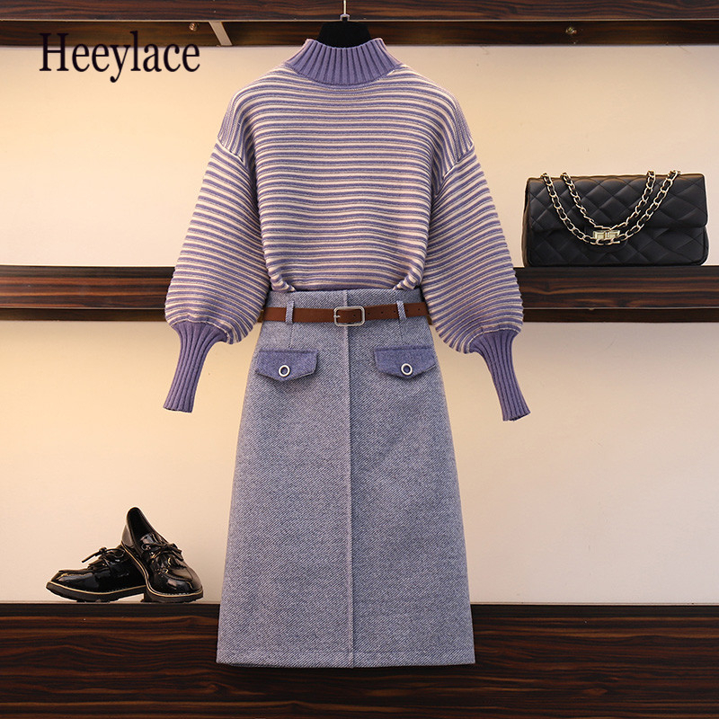 Fashion Autumn Winter Knit Set Two Piece Turtlneck Stripe Pullover Sweater + Midi Wool Skirt 2PCS Coat Set Elegant Suit Women