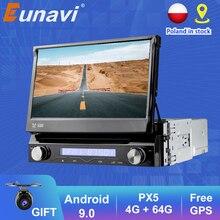 Eunavi 1 Din Android10รถ DVD มัลติมีเดียเครื่องเล่นวิทยุ GPS สำหรับ Universal GPS ระบบนำทางวิทยุสเตอริโอ WIFI MP3เสียง USB SWC
