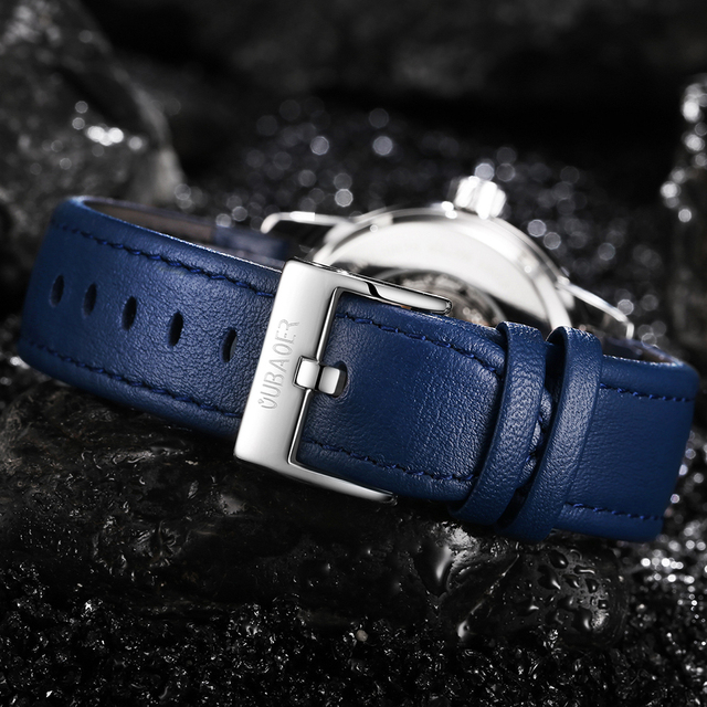 OUBAOER Mens Watches 2021 Mechanical Automatic Top Brand Luxury Tourbillon Self Winding Leather Sport  Wristwatch 4