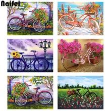 Kits de pintura de diamantes cuadrados/redondos 5d, mosaico de flores para bicicletas de jardín Vintage, decoración de bicicletas con bordado para el hogar, arte de diamantes