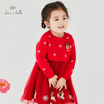 DBZ16072 dave bella winter baby girl's Christmas cartoon sweater dress children fashion party dress kids infant lolita clothes image