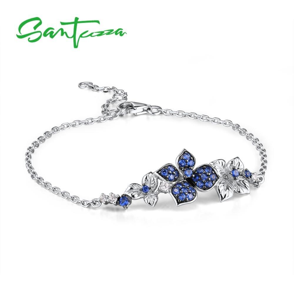 SANTUZZA Silver Jewelry Set for Women Pure 925 Sterling Silver Blue Butterfly Earrings Ring Bracelet Necklace Set Fine Jewelry
