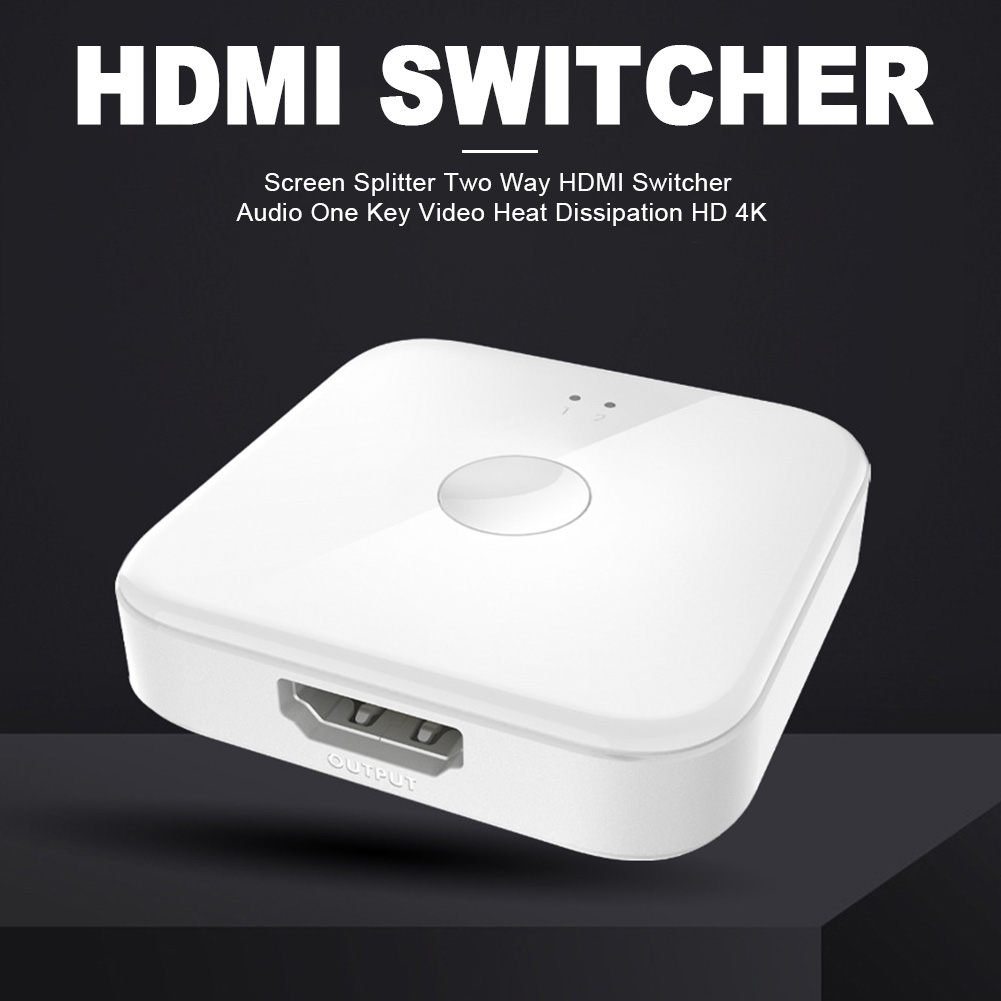 Plug And Play Multimedia Office One Key HDMI Switcher HD 4K Adapter Heat Dissipation TV Two Way Audio Screen Splitter Portable