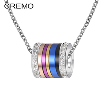 Cremo Vintage Jewelry Rotating Pendant Necklace DIY Crystal Spinner Stainless Steel Chain Choker Charm