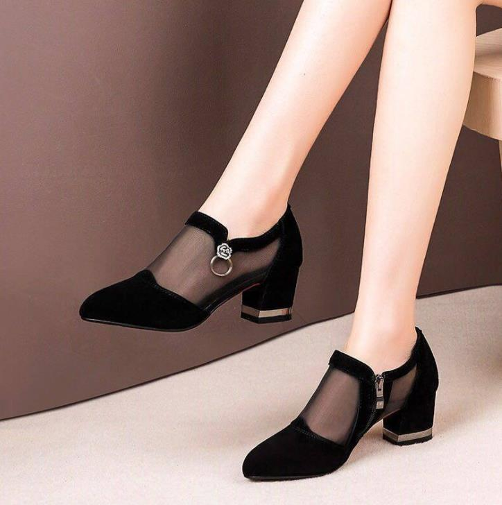 Summer mesh Peep Toe sandals sexy heels single shoes women shoes in Europe America 2020 spring summer Pumps gauze mujer|Women's Pumps| - AliExpress