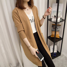 NORMOV Long Cardigan Female Sweater Autumn Winter Women Long Sleeve Knitted Sweater Solid Color V-Neck Pocket Sweater Coat(China)