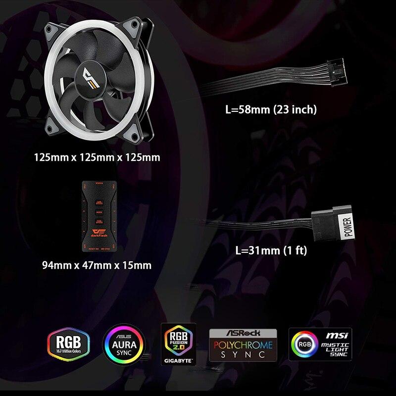 Aigo DR12 Pro Computer Case PC Fan Adjust ARGB Cooling Fan 120mm Quiet Control AURA SYNC Computer Cooler Cooling RGB Case Fans 4