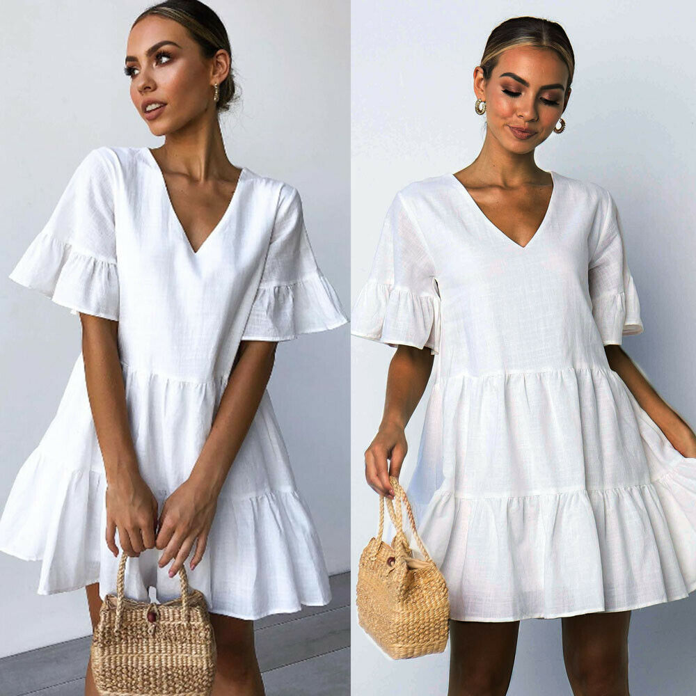 Moxeay Womens Ladies Summer Smock Dress Holiday Beach Solid Casual Loose Mini Frill Sundress V Neck Ruffle Pleated Swing Dress