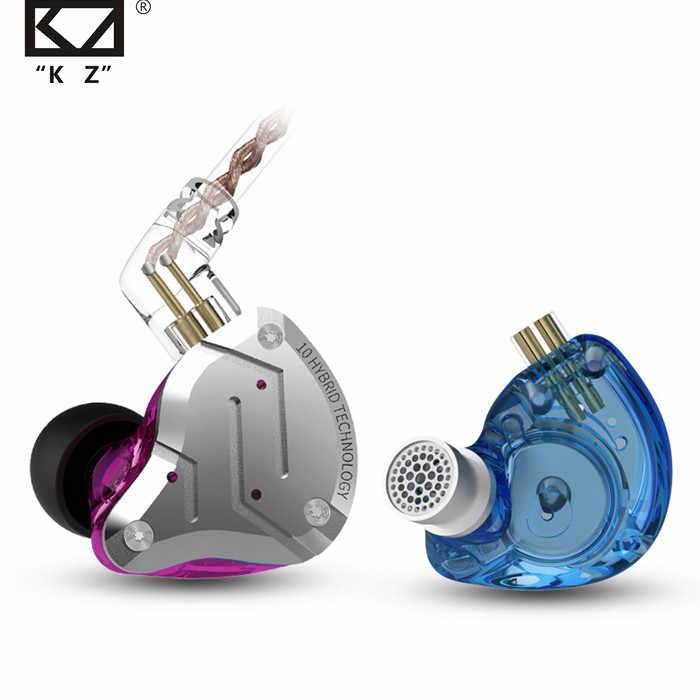 Auriculares ZS10 Pro en la oreja Metall 4BA + 1DD híbrido 10 unidades de Bajo Hifi auriculares Monitor auriculares deportes ruido cancelación 2PIN