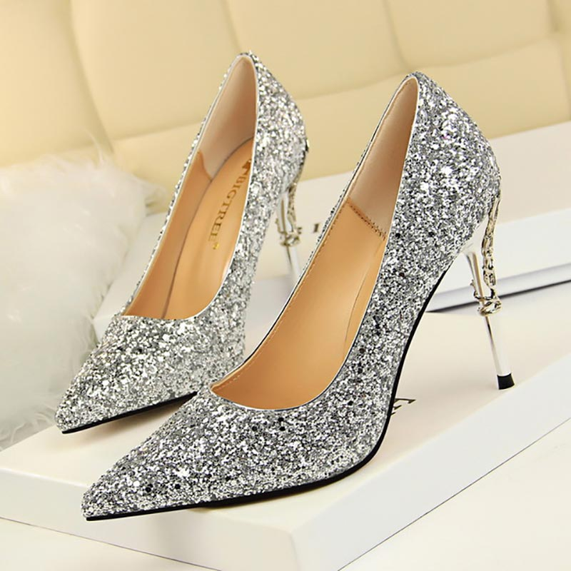 Elegant Ladies Glitter Gold Silver Pumps 2019 Sexy Pointed Toe Over 8cm High Heels Wedding Party Shoes Women Pumps
