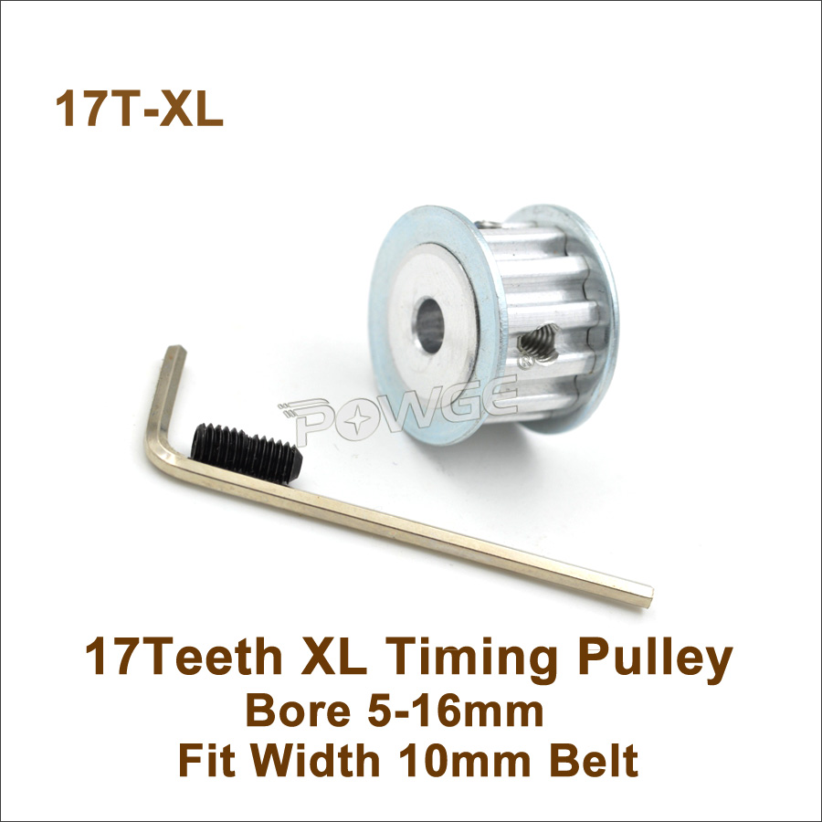 POWGE 17 Teeth <font><b>XL</b></font> Timing <font><b>Pulley</b></font> Bore 5-16mm Fit W=10mm <font><b>XL</b></font> Timing <font><b>Belt</b></font> 17T 17Teeth <font><b>XL</b></font> Synchronous <font><b>Belt</b></font> <font><b>Pulley</b></font> Trapezoid 17-<font><b>XL</b></font> AF image