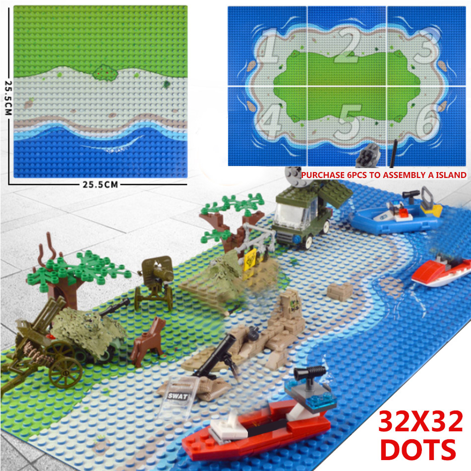 Military Island Base Plates 32*32 Dots Baseplate Board For Classic Bricks Building Blocks Parts Compatible Legoed City Figures