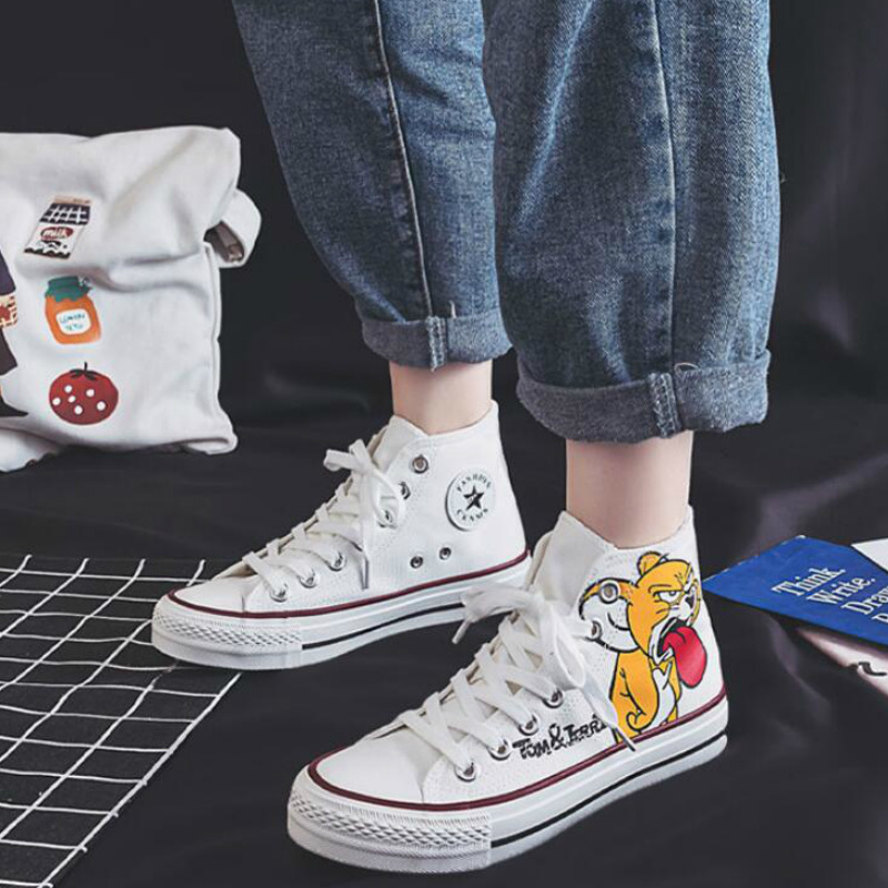 Women Anime Tom Cartoon Print Shoes Brand Sneakers Lovely Girls Canvas Thick Heel Sneakers Designer High-Top Running Platform